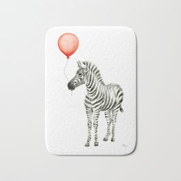 Baby Zebra with Red Balloon Bath Mat