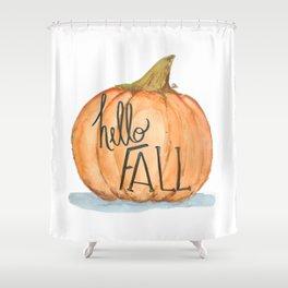 Hello fall pumpkin Shower Curtain