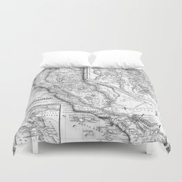 Vintage Map of California (1860) BW Duvet Cover