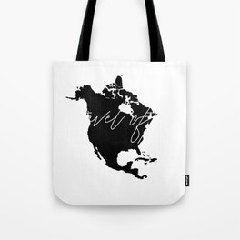 Black and white world map-travel often Tote Bag