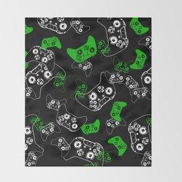 Video Game Black & Green Throw Blanket