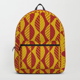 Mod Leaves in Red and Mustard Yellow Backpack