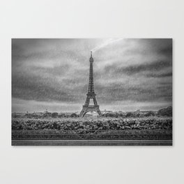 PARIS Eiffel Tower Thunderstorm Canvas Print