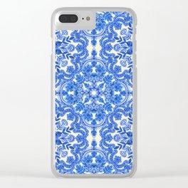 Cobalt Blue & China White Folk Art Pattern Clear iPhone Case