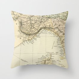 Vintage Retro Map Northern Italy Throw Pillow
