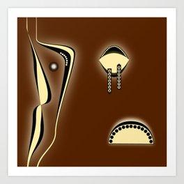 abstract black, brown and yellow geometrics Art Print