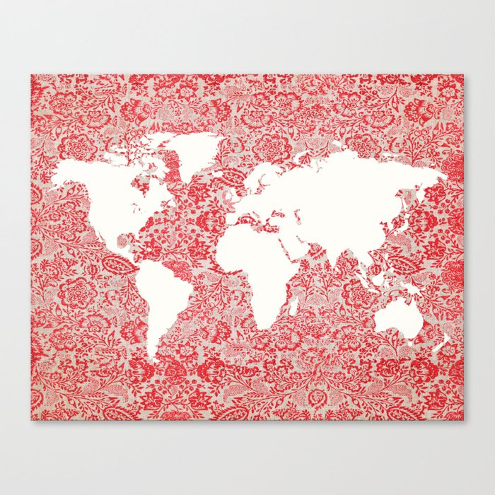 Floral world map canvas print by istriadesign society6 floral world map canvas print gumiabroncs Image collections