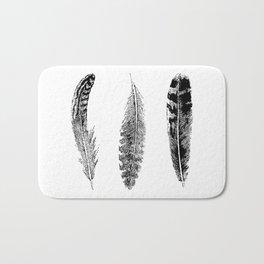 Feather Trio   Black and White Bath Mat