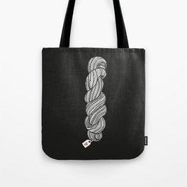 Yarn Crafter Skein Love White on Black Tote Bag