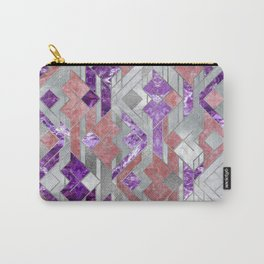 Geometric Amethyst, Rose quartz and Mother of pearl Carry-All Pouch