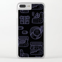 Picto-glyphs Story--Negro Clear iPhone Case