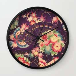 Hyakka Ryoran Kimono Inspired Wall Clock