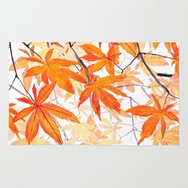 orange maple leaves watercolor Rug