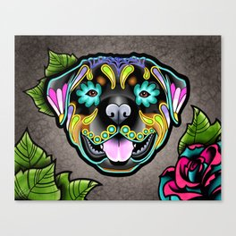 Rottweiler - Day of the Dead Sugar Skull Dog Canvas Print