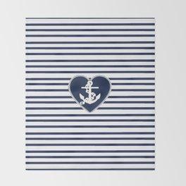 Modern navy blue white heart anchor nautical stripes Throw Blanket