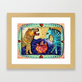 The Tiger the Zebra and the Turtle. Framed Art Print