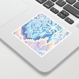 Pixelated Nebula Blue Sticker