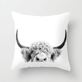 Peeking Cow BW Throw Pillow