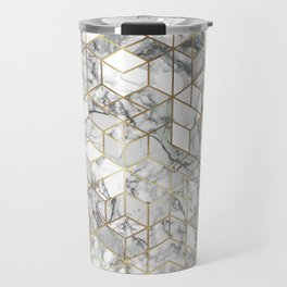 White marble geomeric pattern in gold frame Travel Mug