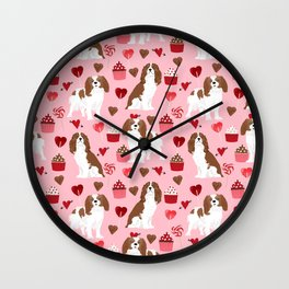 Cavalier King Charles Spaniel valentines day hearts valentine dog breed custom gift for dog lover Wall Clock