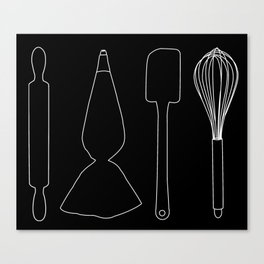 Baker Baking Tools -  Black Canvas Print