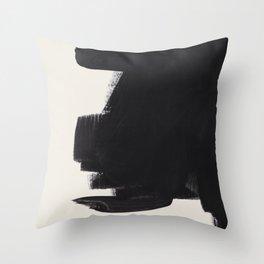 Mid Century Modern Minimalist Abstract Art Brush Strokes Black & White Ink Art Colorfield Throw Pillow
