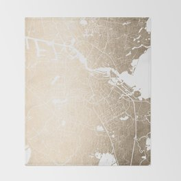 Amsterdam Gold on White Street Map II Throw Blanket