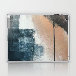 Honey 1: a pretty, minimal abstract in midnight blue, rose gold, and white Laptop & iPad Skin