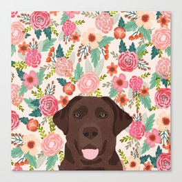 Chocolate Lab floral dog head cute labrador retriever must have pure breed dog gifts Canvas Print