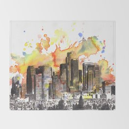 Los Angeles Cityscape Skyline Painting Throw Blanket