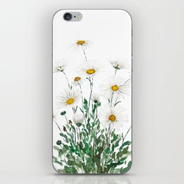 white Margaret daisy watercolor iPhone Skin