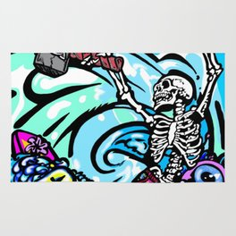 Wipe out! Gnarly surfing skeleton Rug