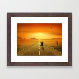 Biker On Route 66 Framed Art Print