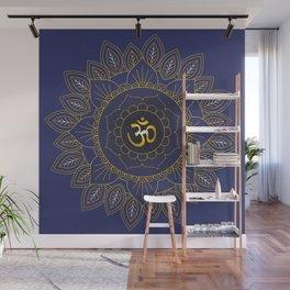 Om Symbol and Mandala in Spiritual Gold Purple Blue Violet Wall Mural