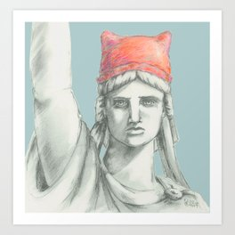 Liberty in PINK skyblue Art Print