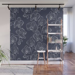 Retro . Orchid flowers on a blue background . Wall Mural