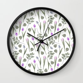 Elegant lilac blush pink blue watercolor tulips pattern Wall Clock