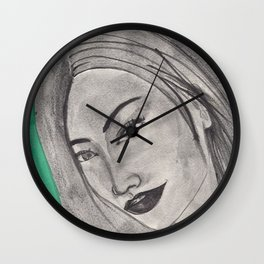 girl infront of a gre bacground Wall Clock