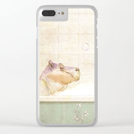 Hippo in the bath Clear iPhone Case
