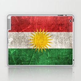 Vintage Aged and Scratched Kurdish Flag Laptop & iPad Skin
