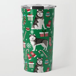 Alaskan Malamute dog christmas pattern candy canes christmas presents Travel Mug