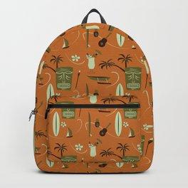 Orange Retro Hawaiian Tiki Hawaii Beach Backpack