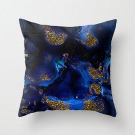 Gold and Indigo Malachite Marble Throw Pillow