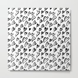 Hearts. Brush-lettered seamless pattern Metal Print