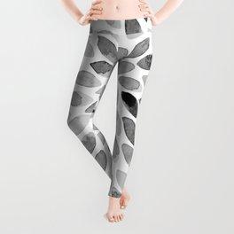 Watercolor brush strokes - black and white Leggings
