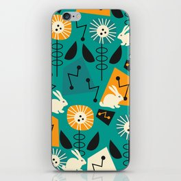 Mid-century pattern with bunnies iPhone Skin