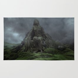 Giant Goddess Statue on a Green Hilly Landscape Rug