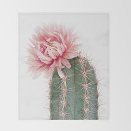 Pink Cactus Flower Throw Blanket