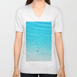 Floating in the Mediterranean Sea Unisex V-Neck
