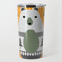Cute bear, stripes and a fir forest Travel Mug